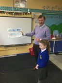 Bella was so pleased showing Declan Carville her work