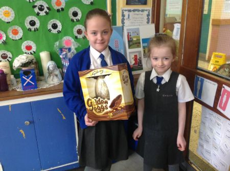 Cerys won a Galaxy egg raffled by Caoimhe
